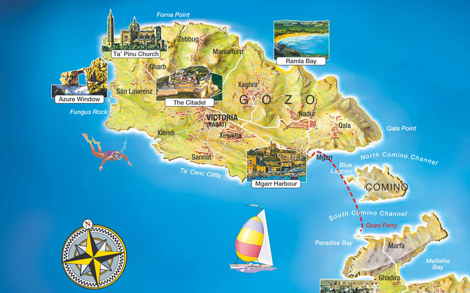 Safe diving in gozo with gozo map for Gozo dive centres