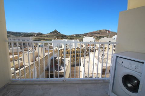 Back balcony with washing machine and view